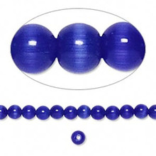 1 Strand Blue Cat's Eye Fiber Optic Glass 4mm Round Grade A Beads