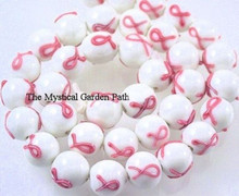 6 Lampwork Glass Pink Ribbon Breast Cancer Awareness Round Beads ~ 11mm