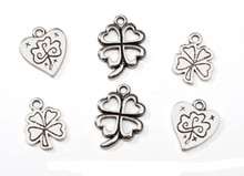 12 Antiqued Silver Shamrock Clover Drop Charms Mix