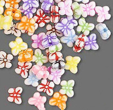 100 Small Plastic Double Sided BUTTERFLY Beads Mix ~ 8x5mm