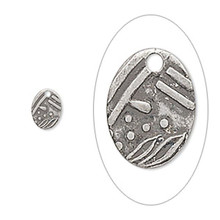 100 Matte Antiqued Silver Etched Oval Drop Charms ~ 8x6mm *