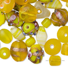 100 grams Fancy Yellow Glass Lampwork Bead Mix