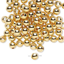 100 Gold Plated Brass Smooth Round Metal Beads  ~ 5mm