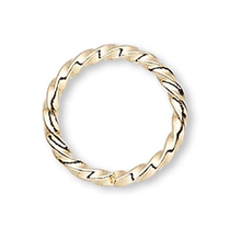 100 Gold Plated Brass 8mm Fancy Twisted 16 Gauge Jump Rings