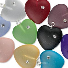10 Frosted Czech Pressed Glass Heart Pendants with Cubic Zirconia ~ 16mm