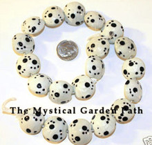 10 Black Cream Lampwork Puffy Coin PAW Print Beads