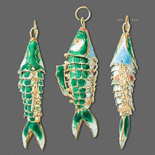 1 Gold Plated Green Moving Fish Cloisonne Charm Pendant ~ 59x22mm  *