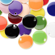 120 Silver Plated Epoxy Round Drop Charms Mix ~ 12mm