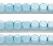 1 Strand Opaque Light Blue Glass Cube Beads 7mm Square  *