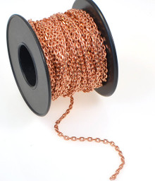 32 Foot Spool Copper Plated Flattened Brass Chain with 2.8x3.3mm Links
