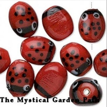 10 Red & Black Lampwork Glass LADYBUG Beads 11x13mm