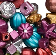 Approximately 1900 Satin Metallic Matte Acrylic Beads ~ Mixed Shape & Size *