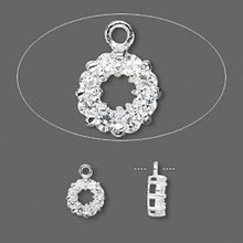 1 Sterling Silver 7mm Open Round Charm With Clear Cubic Zirconia CZ *