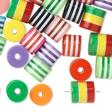 100 Laminated Roller Striped  Drum Acrylic Bead Mix ~ 8x6mm *