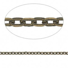 16 Feet Antiqued Brass Plated Steel Flat Cable Chain ~ 3x2mm Links