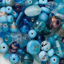 100 Grams  Lampwork Glass Turquoise Blues Beads Ocean Sea Color Mix