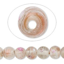 "16"" Strand Clear with Pink & White Confetti Glass Round Beads ~ 10mm *"