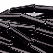 "1 Hank Opaque Jet Black 6mm Glass Tube Bugle Beads ~ 1/4"" Long"