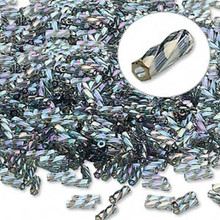 50 grams Matsuno Twist 6mm Gun Metal Rainbow Spiral Bugle Beads