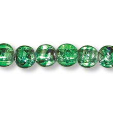 "16"" Strand Lampwork Glass Emerald Green Metallic Round Foil 8mm Beads *"