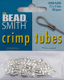 100 Silver Plated 2.5mm Crimp Tube Crimping Beads