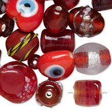 100 grams Fancy Red Czech Lampwork Glass Beads Mix