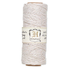 205 Foot Spool Smooth Polished Hemp Cord ~ White ~ 1mm ~ 20lb Test