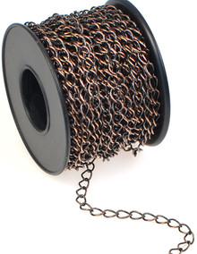 32 Foot Spool  Antiqued Copper Plated Brass Bulk Curb Chain with 4.2x5.2mm Links