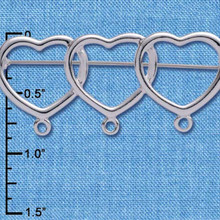 2  Or 8 Silver Plated Pewter Triple Heart Pins ~ 2 Inches  ~ Just Add Charms