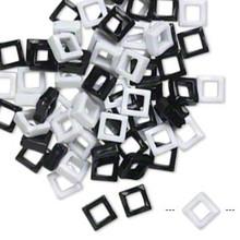 70 Opaque Black & White 23x23mm Open Diamond Acrylic Beads *