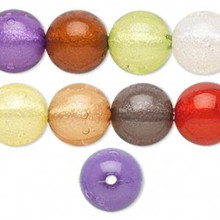 26 Acrylic Bright Colors With Silver Foil 16mm Round Bead Mix *