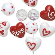 10 Hand Painted Glass Beads ~ Red & White Hearts Love