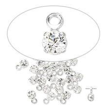 24 Silver Rhodium Plated Swarovski Crystal Clear Drop Charms ~ 3x6mm