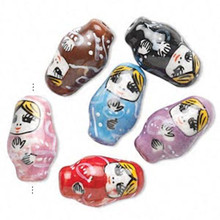 6 Porcelain Russian Nesting Doll Beads ~  Mix or Single Colors