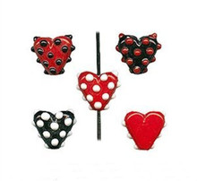 6 Lampwork Glass Red White & Black Polka Dot Heart Beads ~16x20x8mm *