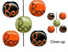 "16"" Strand Lampwork Glass Halloween ~ BOO  Coin Bead Mix  *"