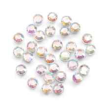 750 Hot Fix Glass Flat Back Round Rhinestones ~ 4mm Aurora Borealis Clear
