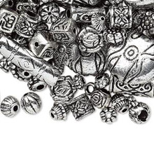 250 Grams Antiqued Silver Finished Plastic Tribal Beads ~ 1,200-1,500 Beads