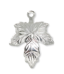 50 Silver Plated Brass 12x12mm Maple Leaf Charms
