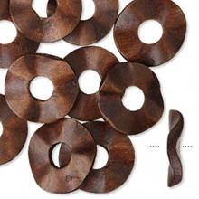 10 Dark Brown Hand-Cut Wavy Round Wood Donut Disc Pendants ~ 33mm