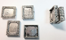 6 Antiqued Silver Photo Frame Beads ~ 24x21mm  *