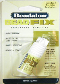 3 Grams (0.10oz) Bottle Bead Fix Super Fast Adhesive with 3 Precision Applicators