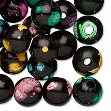 100 Black with Multicolors Acrylic Round Bead Mix ~ 12mm *