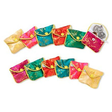 """12 Assorted Rayon Brocade Pouches Jewelry Gift Bags ~ 2x2 1/2"""""""
