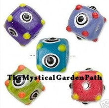 30 Multi Color Opaque Lampwork Glass Bumpy Cube Bead Mix ~ 12x12mm *