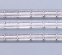 1 Strand Clear Glass Round Tube Beads   ~ 9x4mm