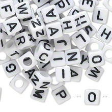100 White Acrylic Alphabet Square Cube Beads ~  6x6mm