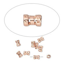 10 Copper Plated Brass 4x2.5mm Tube Crimp Beads ~ 1mm ID