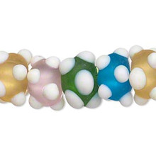 1 Strand Lampwork Glass Rondelle Bumpy Frosted Multi Color Bead Mix *