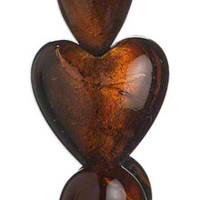 1 Strand Honey Brown Lampwork Glass 30mm Heart Beads *